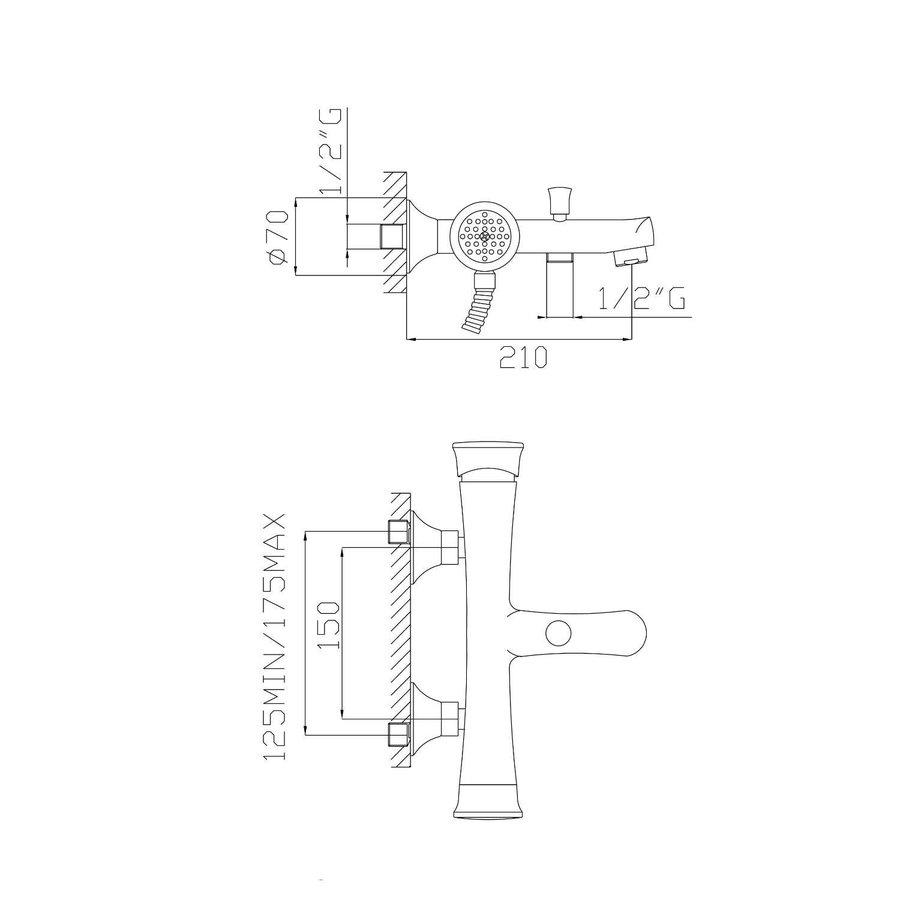 Badkraan Opbouw Sapho Belinda Mengkraan 1-hendel 21 cm Chroom (incl. handdouche)