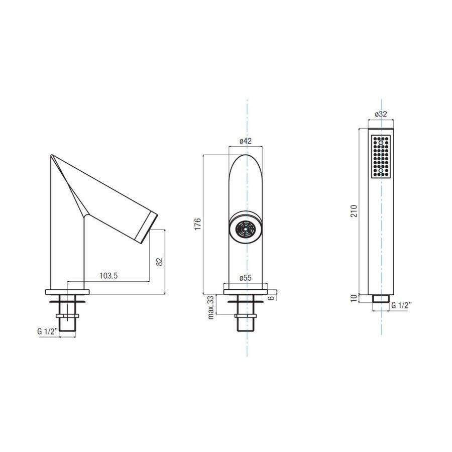 Badrandkraan Sapho Go Deck 2-knop Thermostatische kraan Compleet 4-gats Chroom