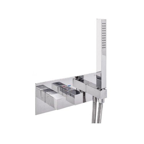 Inbouw Douchekraan Sanimex Giulini Thermostatisch 1-Uitgang Vierkant Incl. Handdouche En BOX Inbouwdeel Chroom