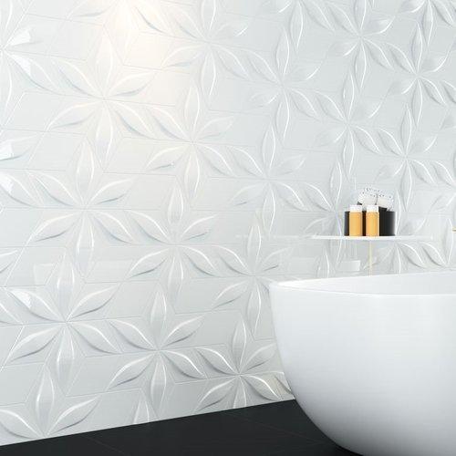 Wandtegel Zyx Diamond Blend White Glossy 15x25.9 cm Glans Wit