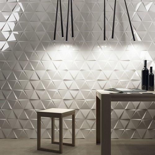 Wandtegel Zyx Triangle Cascade White Glossy 15x17 cm Glans Wit