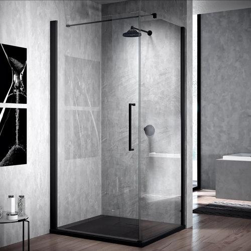 Douchedeur Draaibaar Novellini Young G+F Helder Glas 90 cm Mat Zwart Aluminium Profiel