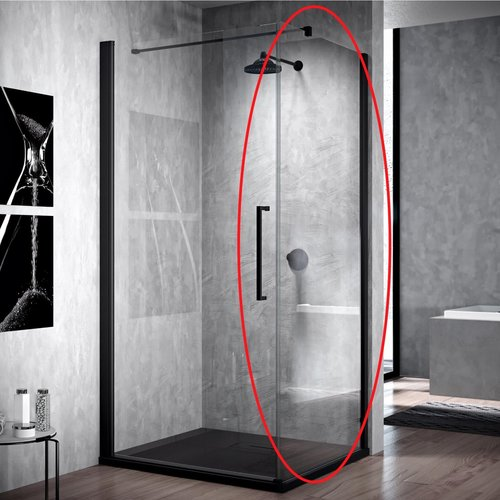 Zijwand voor Douchecabine Novellini Young G+F Helder Glas 120x200 cm Mat Zwart Aluminium Profiel