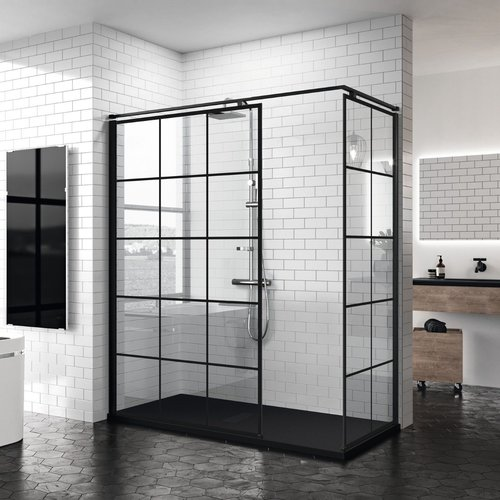 Inloopdouche Novellini Kuadra H Squares 90x200 cm Helder Glas Mat Zwart Raster