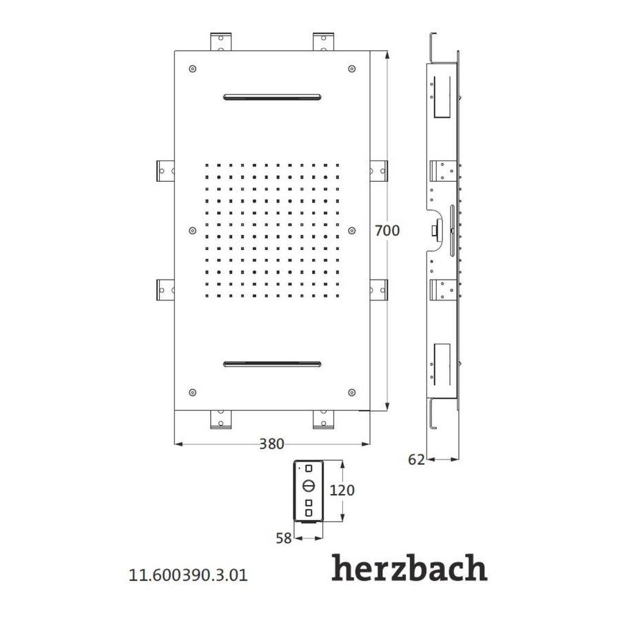 Hoofddouche met Kleur LED-Verlichting Herzbach Living Spa Gepolijst Chroom (twee standen)