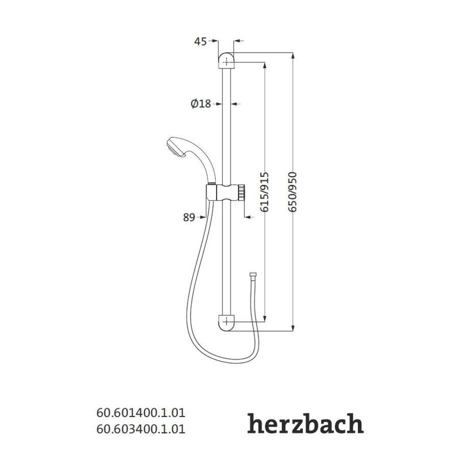 Glijstangset Herzbach Modena 60 cm met Handdouche Chroom