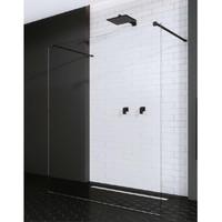 AQS Vrijstaande Inloopdouche Pro Line Helder Glas met Twee Stabilisatiestangen Mat Zwart (13 varianten)