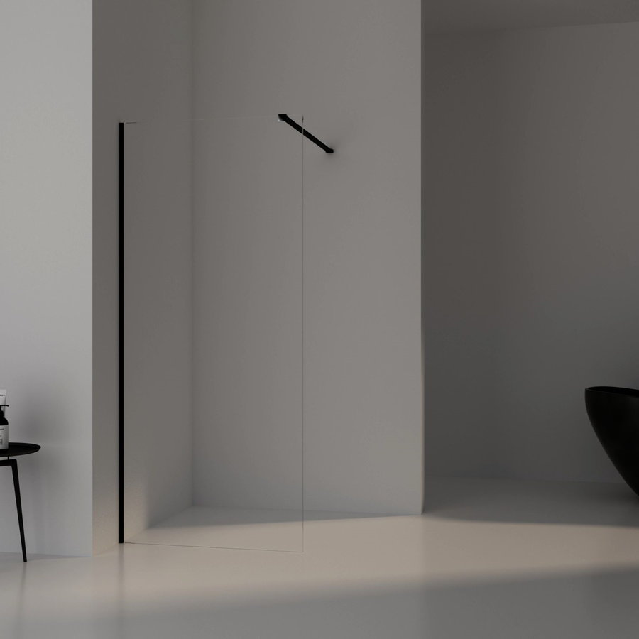 AQS Inloopdouche Pro Line Helder Glas Black Chrome Profiel en Stang (13 varianten)
