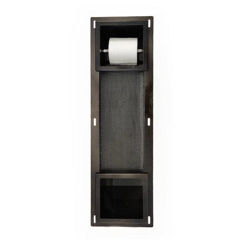 Inbouw Toiletrolhouder AQS met Reserve Rolhouder RVS Black Chrome