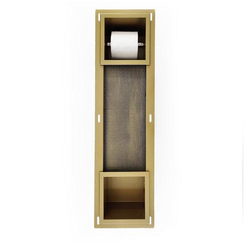 Inbouw Toiletrolhouder AQS met Reserve Rolhouder RVS Goud