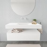 Badkamermeubel AQS Ibiza 120 cm Solid Surface Wastafel Mat Wit (acht varianten)