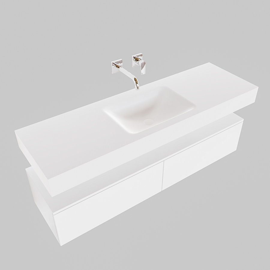 Badkamermeubel AQS Ibiza 150 cm Twee Soft-Close Lades Solid Surface Wastafel Mat Wit (acht varianten)