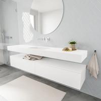 Badkamermeubel AQS Ibiza 200 cm Twee Soft-Close Lades Solid Surface Wastafel Mat Wit (acht varianten)