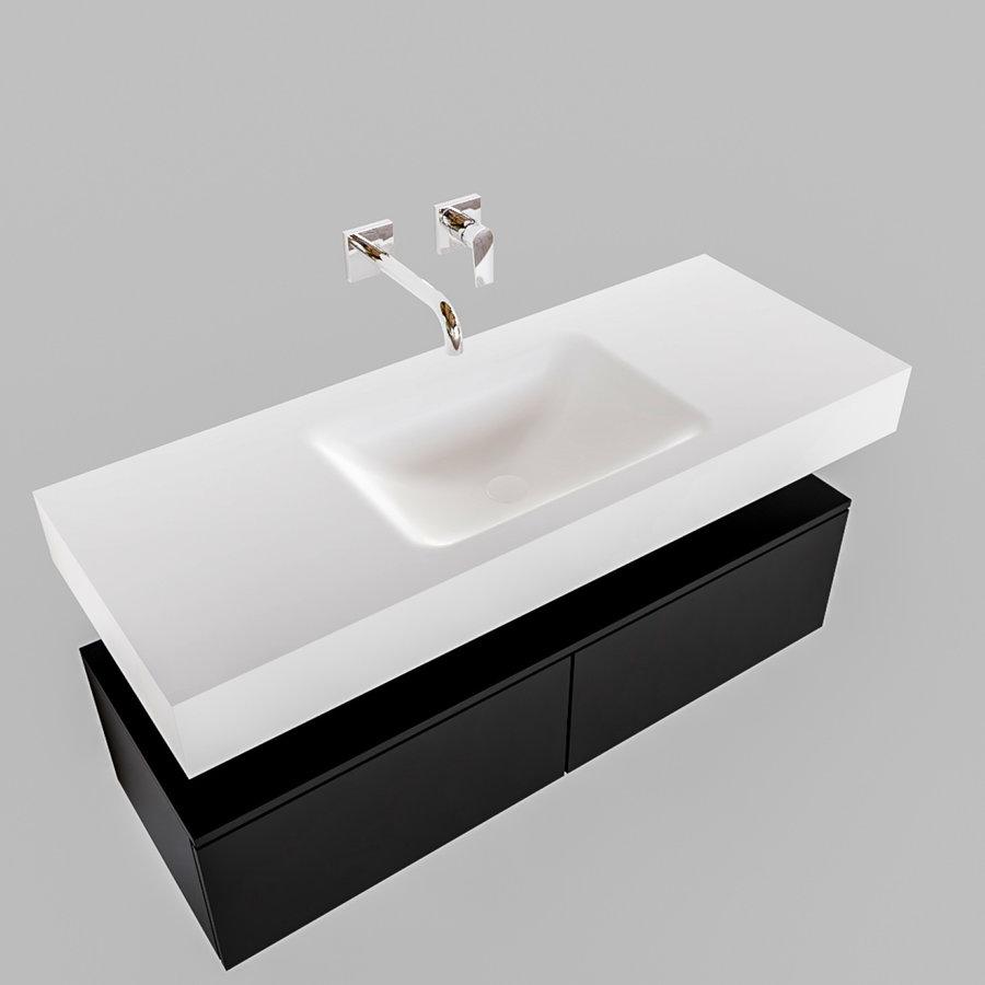 Badkamermeubel AQS Ibiza 120 cm Solid Surface Mat Zwart Twee Soft-Close Lades Wastafel Mat Wit (acht varianten)