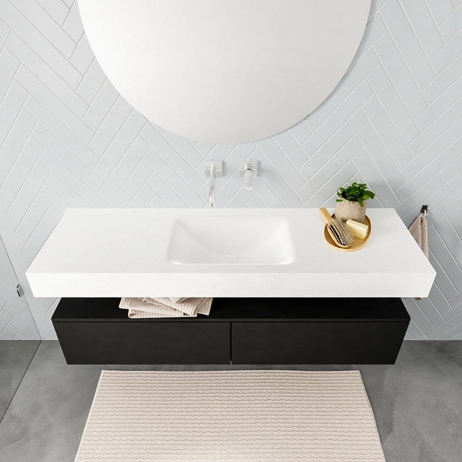 Badkamermeubel AQS Ibiza 150 cm Solid Surface Mat Zwart Twee Soft-Close Lades Wastafel Mat Wit (acht varianten)