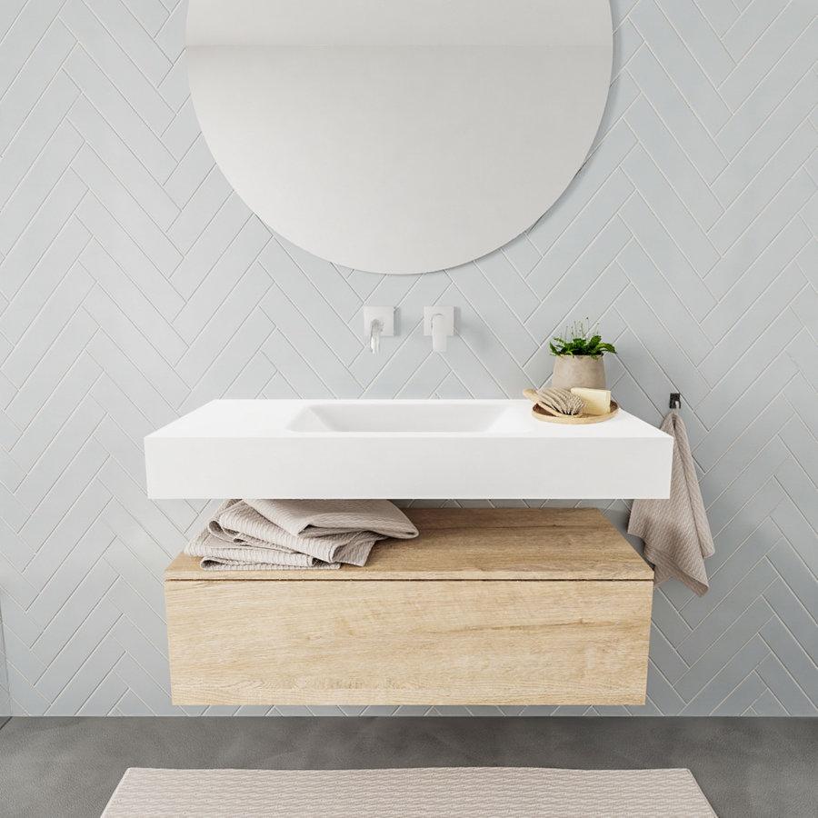 Badkamermeubel AQS Ibiza 100 cm Washed Oak Solid Surface Wastafel Mat Wit (zes varianten)