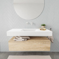 Badkamermeubel AQS Ibiza 120 cm Washed Oak Solid Surface Wastafel Mat Wit (acht varianten)