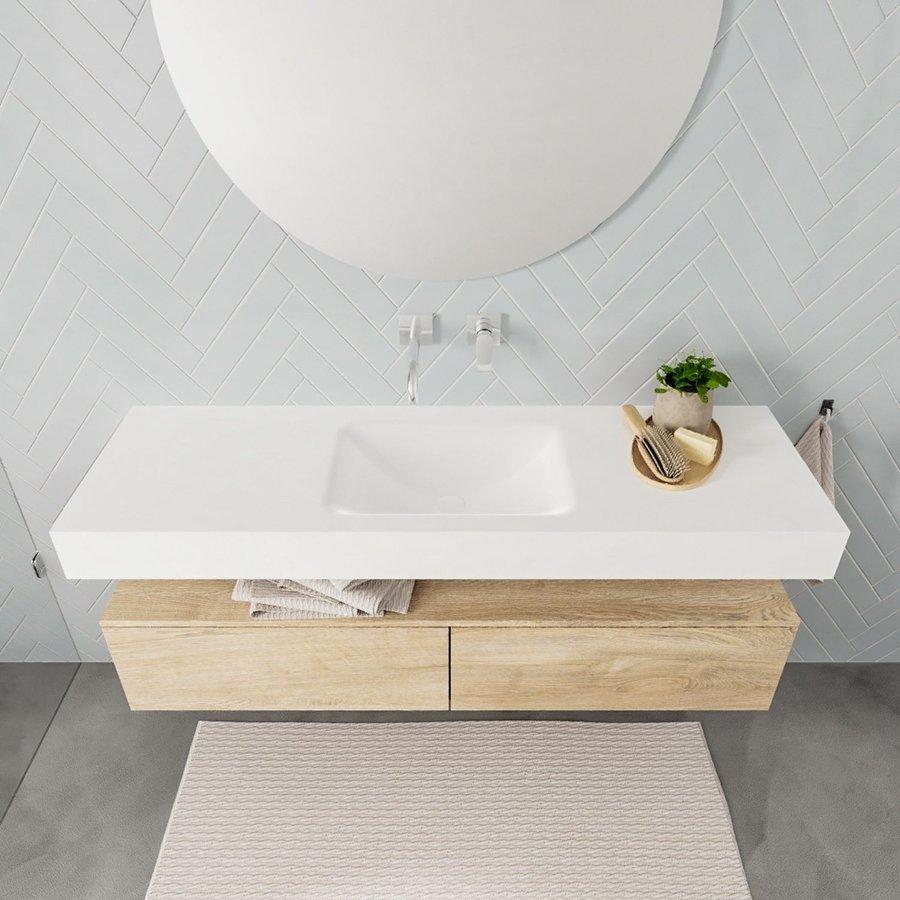 Badkamermeubel AQS Ibiza 150 cm Washed Oak Twee Soft-Close Lades Solid Surface Wastafel Mat Wit (acht varianten)