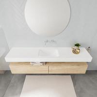 Badkamermeubel AQS Ibiza 200 cm Washed Oak Twee Soft-Close Lades Solid Surface Wastafel Mat Wit (acht varianten)