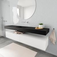 Badkamermeubel AQS Ibiza 200 cm Mat Wit Twee Soft-Close Lades Solid Surface Wastafel Mat Zwart (acht varianten)