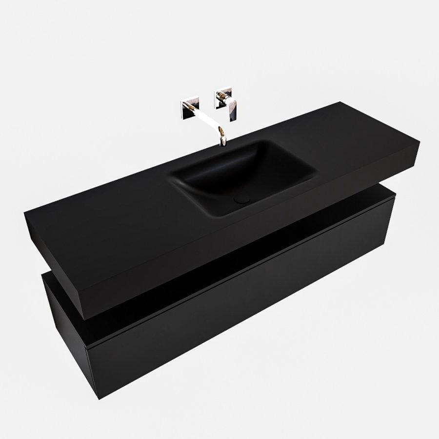 Badkamermeubel AQS Ibiza 150 cm Solid Surface Wastafel Mat Zwart (acht varianten)