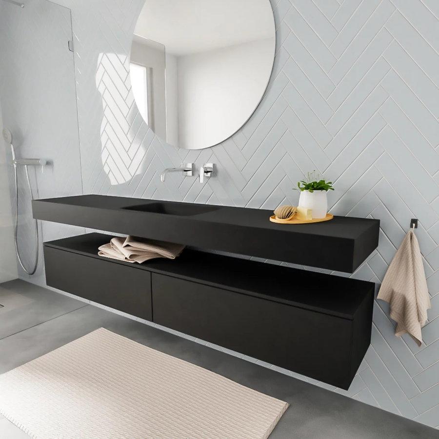 Badkamermeubel AQS Ibiza 200 cm Twee Soft-Close Lades Solid Surface Wastafel Mat Zwart (acht varianten)