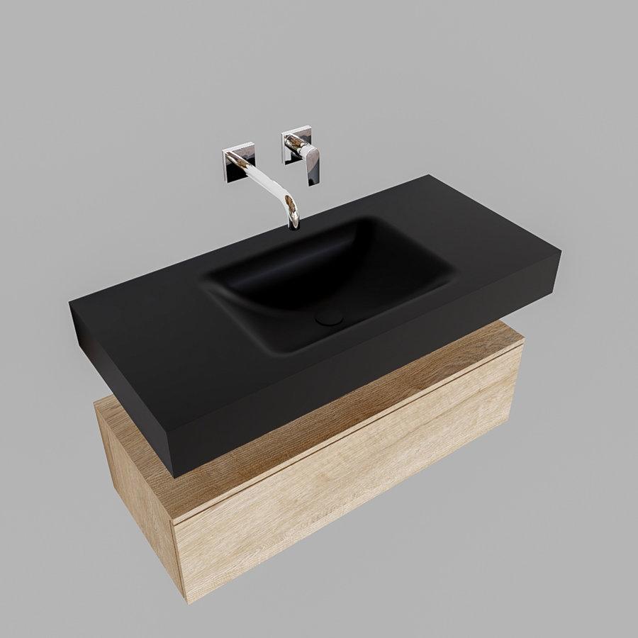 Badkamermeubel AQS Ibiza 100 cm Washed Oak Solid Surface Wastafel Mat Zwart (zes varianten)