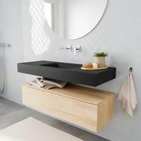 Badkamermeubel AQS Ibiza 120 cm Washed Oak Solid Surface Wastafel Mat Zwart (acht varianten)