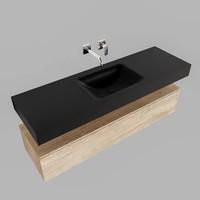 Badkamermeubel AQS Ibiza 150 cm Washed Oak Solid Surface Wastafel Mat Zwart (acht varianten)