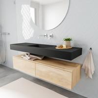 Badkamermeubel AQS Ibiza 150 cm Washed Oak Twee Soft-Close Lades Solid Surface Wastafel Mat Zwart (acht varianten)