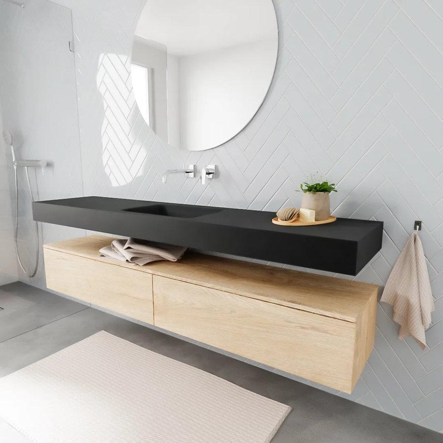 Badkamermeubel AQS Ibiza 200 cm Washed Oak Twee Soft-Close Lades Solid Surface Wastafel Mat Zwart (acht varianten)