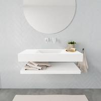 Badkamermeubel AQS Ibiza 100 cm met Planchet Solid Surface Mat Wit (zes varianten)