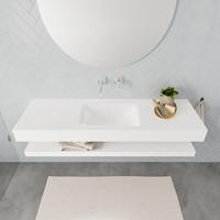Badkamermeubel AQS Ibiza 150 cm met Planchet Solid Surface Mat Wit (acht varianten)