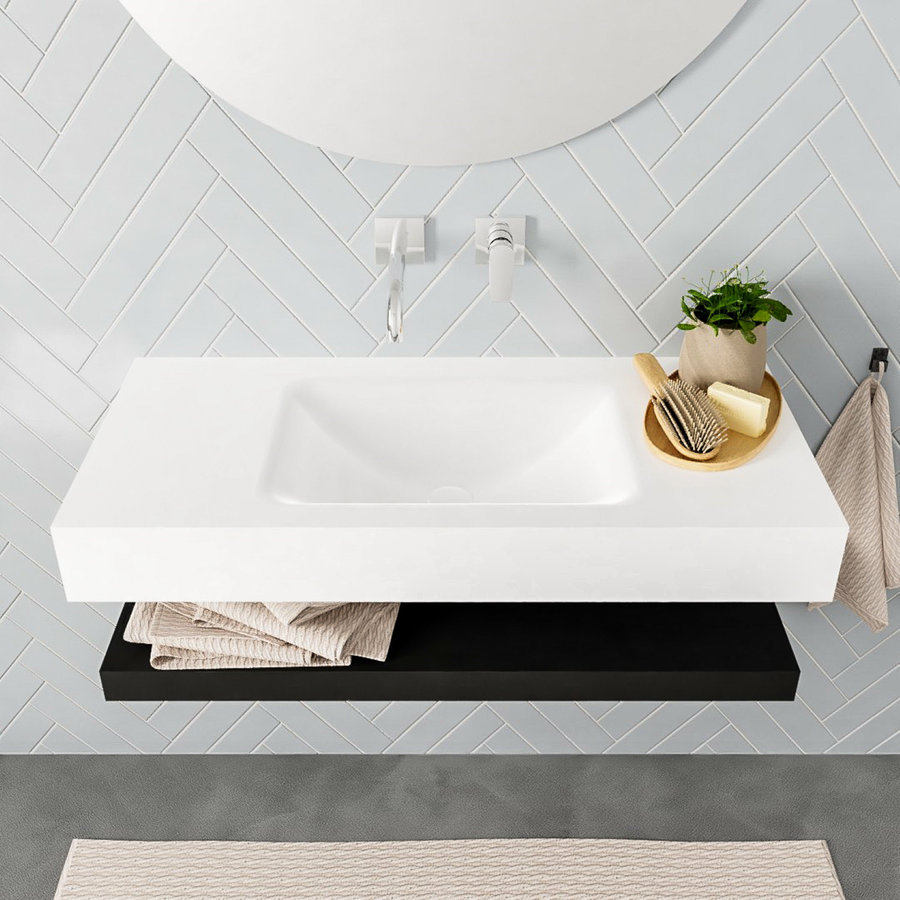 Badkamermeubel AQS Ibiza 100 cm met Mat Zwart Planchet Solid Surface Wastafel Mat Wit (zes varianten)