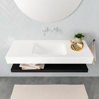 Badkamermeubel AQS Ibiza 120 cm met Mat Zwart Planchet Solid Surface Wastafel Mat Wit (acht varianten)