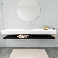 Badkamermeubel AQS Ibiza 200 cm met Mat Zwart Planchet Solid Surface Wastafel Mat Wit (acht varianten)
