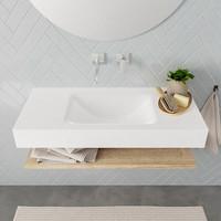 Badkamermeubel AQS Ibiza 100 cm met Washed Oak Planchet Solid Surface Wastafel Mat Wit (zes varianten)
