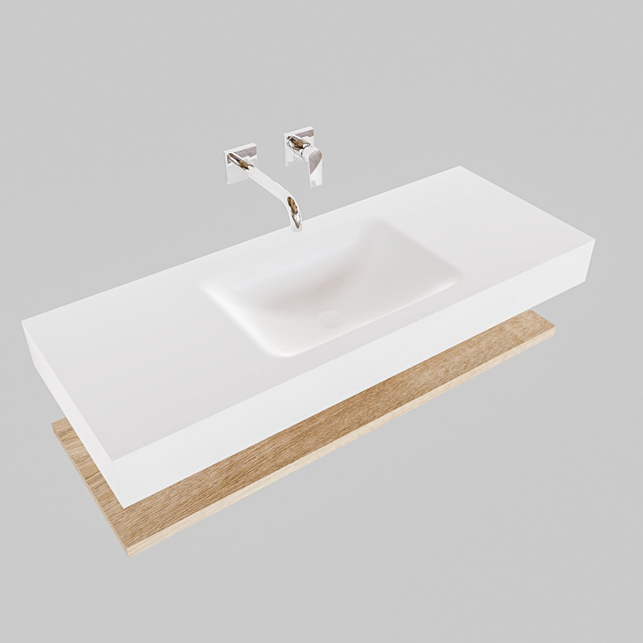 Badkamermeubel AQS Ibiza 120 cm met Washed Oak Planchet Solid Surface Wastafel Mat Wit (acht varianten)
