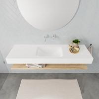 Badkamermeubel AQS Ibiza 150 cm met Washed Oak Planchet Solid Surface Wastafel Mat Wit (acht varianten)