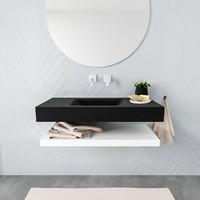 Badkamermeubel AQS Ibiza 100 cm met Mat Wit Planchet Solid Surface Wastafel Mat Zwart (zes varianten)