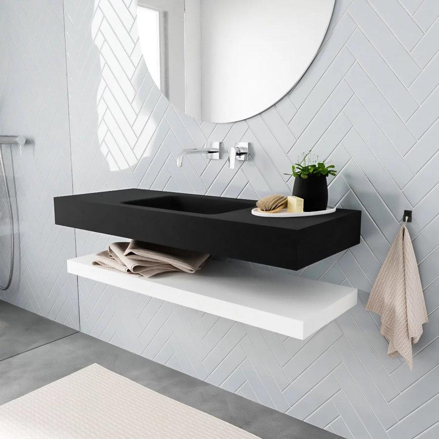 Badkamermeubel AQS Ibiza 120 cm met Mat Wit Planchet Solid Surface Wastafel Mat Zwart (acht varianten)