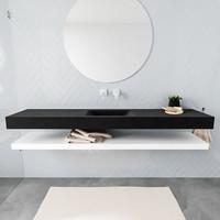 Badkamermeubel AQS Ibiza 200 cm met Mat Wit Planchet Solid Surface Wastafel Mat Zwart (acht varianten)