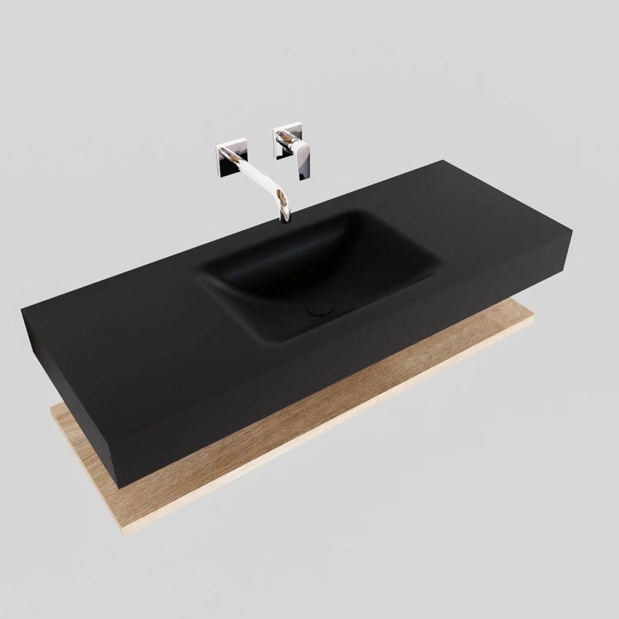 Badkamermeubel AQS Ibiza 120 cm met Washed Oak Planchet Solid Surface Wastafel Mat Zwart (acht varianten)
