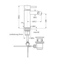 Bidetkraan Herzbach Design IX PVD-Coating met Clickwaste Koper