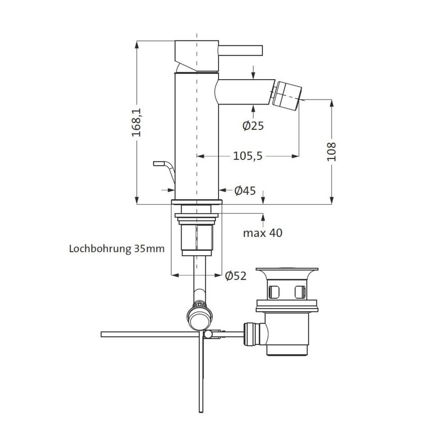 Bidetkraan Herzbach Design IX PVD-Coating met Clickwaste Zwart