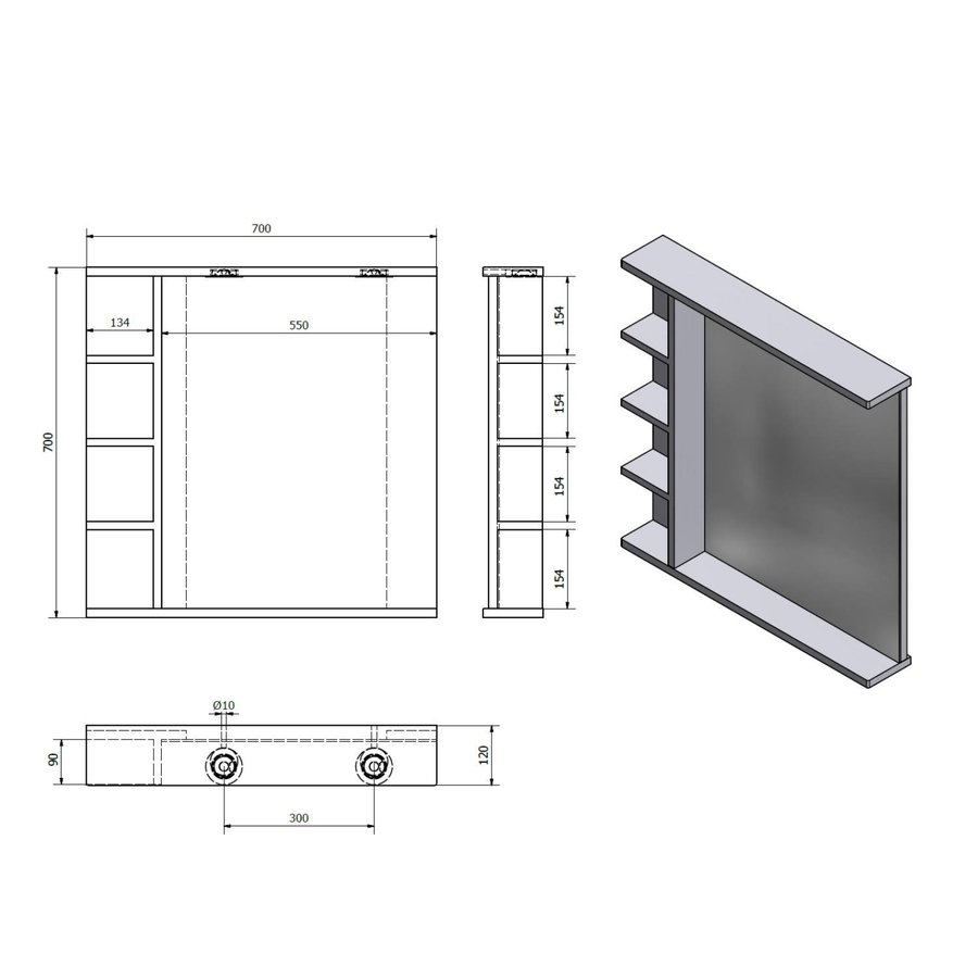 Badkamerspiegel Sapho Korin 70x70x12 cm Incl. LED Verlichting en Planken