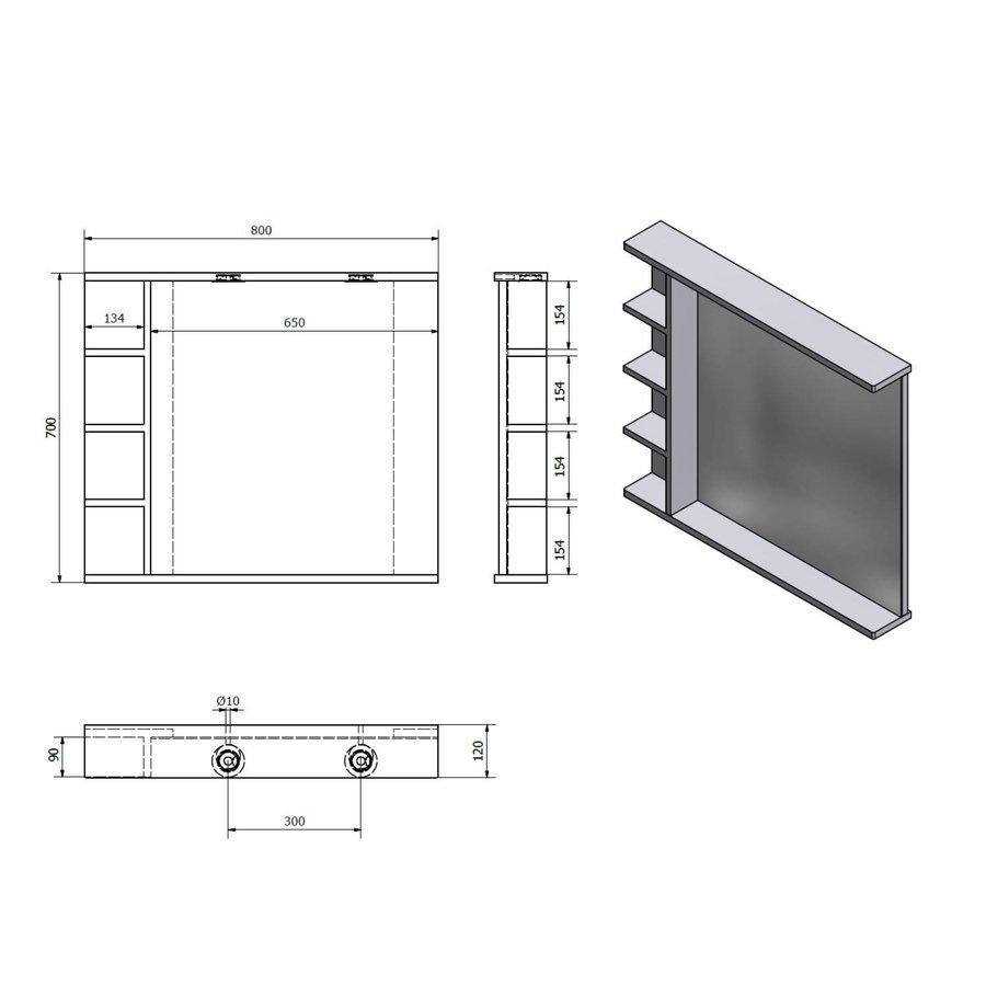 Badkamerspiegel Sapho Korin 80x70x12 cm Incl. LED Verlichting en Planken
