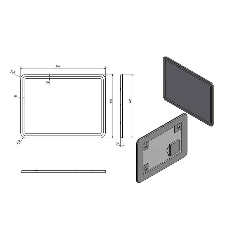 Badkamerspiegel Sapho NYX 60x80 cm LED-Strips