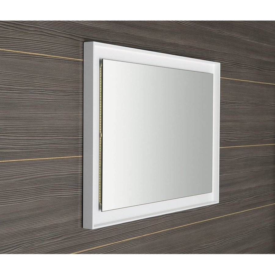 Badkamerspiegel Sapho Flut 60x80 cm LED-Verlichting Omlijsting Wit