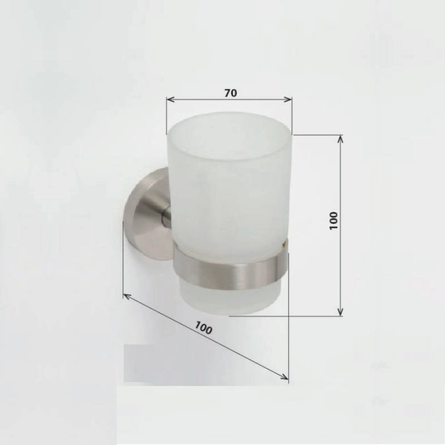 Bekerhouder Sapho X-Steel Hangend 7x10 cm Geborsteld RVS / Melkglas